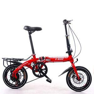 LETFF Vélo Pliant 16 Pouces pour Hommes et Femmes, vélo(Red)