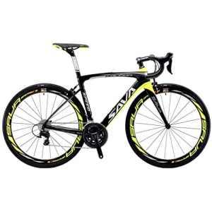 Vélos de Route Carbone, SAVA 700C Velo de Course Homme 22 Vitesses Shimano 105 5800 Group et Selle fizik Route (Noir&Jaune, 520)
