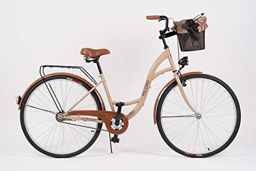 Milord. 2018 Vélo de Confort avec Panier, Byciclette, Vélo Femme, Vélo de ville, 3 Vitesses, Marron, 28 Pouces