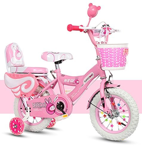 Geekbot Vélo Enfant Fille 14 Pouces – Velo Enfant de 4-9 Ans – Pneu Gonflable -siège Comfortable – Petit pagné – vélo Princesse Pneu Blanc – Protection de sécurité Offerte
