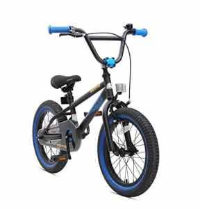 BIKESTAR Vélo Enfant pour Garcons et Filles de 4-5 Ans ★ Bicyclette Enfant 16 Pouces BMX avec Freins ★ Noir & Bleu