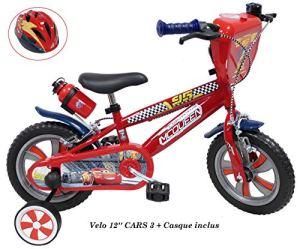 Vélo 12 Pouces Cars 3″ pour Enfant de 2 à 4 Ans (de Taille < 95 cm) + Casque Cars Inclus