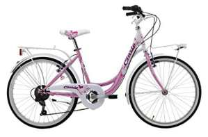Cicli Cinzia Liberty – Vélo de Ville pour Fille, 24″, Manette Revo Shift à 6Vitesses, Freins V-Brake en Aluminium, Couleurs Rose et Blanc nacré