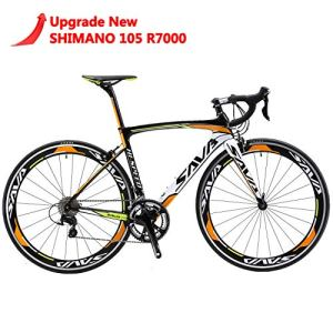 SAVA Vélo de Route de T800 Fibre de Carbone Velo de Course Homme Shimano 105 7000 22 Vitesses Système (Noir Blanc Orange, 54cm)
