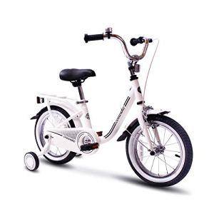 COEWSKE Bicyclette d'enfants de Cadre en Acier de vélo de l'enfant 16 Pouces avec la Roue de Formation (Blanc)
