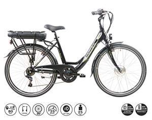 F.lli Schiano E-Moon Vélo électrique Unisex-Adult, Noir, 26″