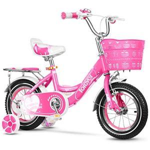 Kids' Bikes Vélos de Fitness pour Enfants en intérieur et en Plein air pour Enfants, Métal, Rouge, 14inches