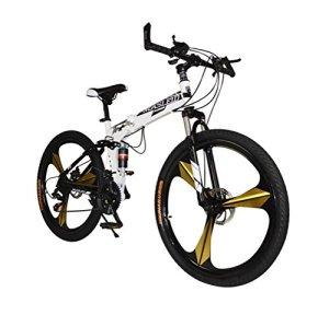 MASLEID 26 pouces vélo pliant, vélo de montagne, 27 vitesses, blanc, noir, bleu, rouge , white 2