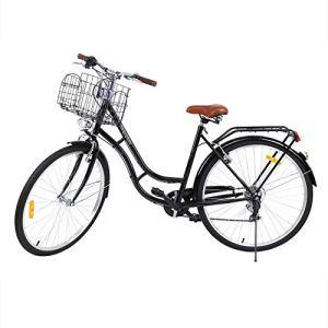 MuGuang 28 Pouces Vélos de Ville Homme Femme 7 Vitesses Femme City Bike Outdoor Sports City Vélo Shopper Vélo Light Blue + Basket + Bell + Batterie-Alimenté Lumière (Noir)