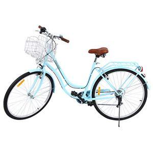 MuGuang 28 Pouces Vélos de Ville pour Homme Femme 7 Vitesses Femme City Bike Outdoor Sports City Vélo Shopper Vélo Light Blue + Basket + Bell + Batterie-Alimenté Lumière (Bleu)