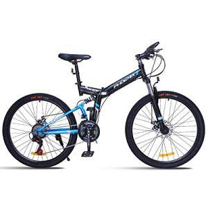 WJSW Vélo de Montagne 26″Unisexe avec Frein à Disque 24 Vitesses avec Cadre de 17″ Noir et Rouge, Bleu, 26″