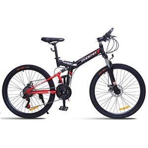 WJSW Vélo de Montagne 26″Unisexe avec Frein à Disque 24 Vitesses avec Cadre de 17″ Noir et Rouge, Rouge, 26″