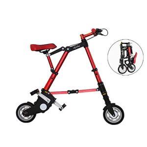 WJSW Vélos pliants légers légers Bicyclettes Volantes Cadre Plus Solide en Alliage d'aluminium de 8″, Unisexe, lustré Or, Rouge