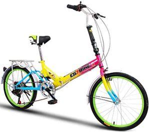 XIUYU Vélos Pliable Ultra léger Portable vélo Pliant Mini Petite Vitesse de Roue Shock Absorption (20 Pouces / 16 Pouces) (Color : 6 , Size : 20in )