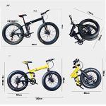 WJSW Vélo Pliant de vélo de Montagne 26 Pouces avec Cadre en Acier Ultra léger, vélo Pliant à Double Suspension et Vitesse à 27 Vitesses, Blanc, 21 Vitesses