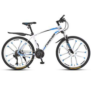 ZTIANR 24″ 26″ Étudiant Vélo Cross-Country De Vélo 21/24/27/30 Vitesse De Montagne BMX Course sur Route Speed ​​Bike,Blanc,26 inch 21 Speed