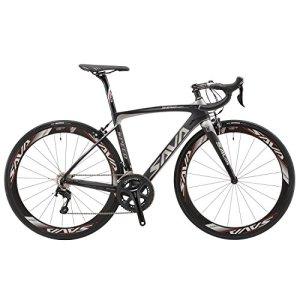 Vélos de Route Carbone, SAVA 700C Velo de Course Homme 22 Vitesses Shimano 105 5800 Group et Selle fizik Route (Gris, 520)