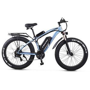 GUNAI Vélo de Montagne électrique,1000W Moteur Tout-Puissant Vélo Électrique Puissant 21 Vitesse Neige VTT LCD Compteur de Vitesse Lithium-ION Battery(Bleu)