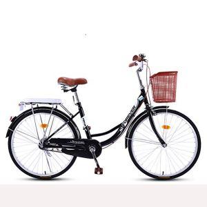 HUWAI Femmes Plage Cruiser Vélo, 7 Vitesses motopropulseurs, avec Porte-Bagages arrière, Cadre en Acier Durable vélo et des Roues en Aluminium (24 Pouces, 26 Pouces, 20 Pouces),Noir,24IN