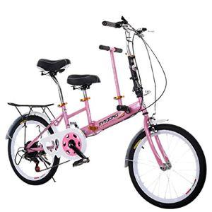 Liqiqi Tandem pliable vélo parent-enfant vitesse variable famille Tandem pour plage, voyage, vacances M A-Rosa
