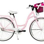 Milord. 2018 Vélo de Confort avec Panier, Byciclette, Vélo Femme, Vélo de ville, 3 Vitesses, Rose, 28 Pouces
