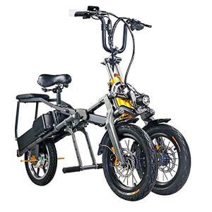 MSM Un-Cliquez sur Rapide Pliage Vélo électrique,Trois Roues Double Batterie Au Lithium E-Bike Scooter,Portatif Pullable Parent-etnfant VTT Pliant Noir 350w 48v 7.5ah