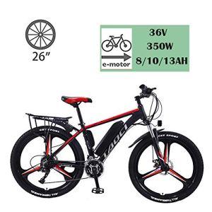 YMhome Vélos Électriques pour Adultes, en Alliage De Magnésium Ebikes Vélos Tout Terrain, 26″ 36V 350W Amovible Au Lithium-ION pour Hommes Montagne Ebike,Black Red,8AH