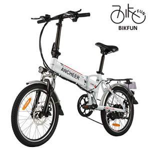 BIKFUN Vélo électrique de Montagne Pliable, 20 pneus Ebike 250W, Batterie au Lithium 36V 8Ah, Suspension Complète Premium, Shimano 21/7 Vitesses