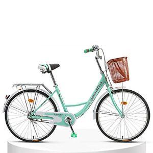 LIXIGB Autour du vélo Cruiser Femme avec Porte-Bagages arrière (24 Pouces, 26 Pouces),Green Single Speed(Good),24