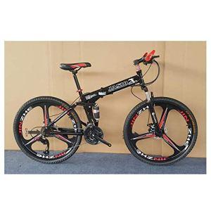 QGL-HQ Sports de Plein air à Double Suspension VTT, 26″ Full Suspension en Alliage d'aluminium Vélo de Montagne 21 Vitesse vélo Pliant Sports de Plein air Mountain Bike (Color : Black)