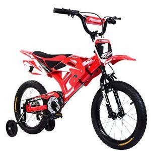 Yulie Enfants Vélo Moto Vélo de Montagne 16 Pouces avec Freins V-Brake pour Enfant 2-8 Ans (16″ Rouge, Rouge 2)