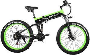 ZTBXQ Sports de Plein air vélo de Route de Ville de Banlieue 26 Pouces 48V 500W Pliant Montagne 4.0 Gros Pneu Guidonélectriqueécran LCD réglable avec Prise USB plm46