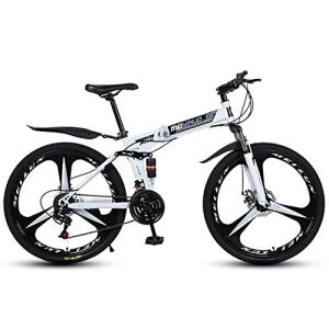 Pliant Vélo De Route 3 A Parlé Roues,Tout Suspendu Graisse Pneu Vélo De Montagne Homme,Vitesses Bicyclette Adulte VTT 26 Pouces Femme Blanc 21 Vitesse