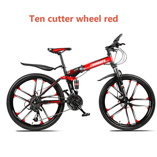 Pliant VTT, Vélo, Adulte tout-en-une roue, double amortisseur Voiture de course, changement de vitesse hors route, pédalé pour hommes et femmes étudiants, 24/26 pouces en option,Red 26 inches,30 speed