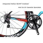 SAVA Vélo de Route Carbon, Homme de Course de vélos en Fibre de Carbone T800 avec Groupe Shimano 105 7000 22 Vitesses (Noir Blanc Bleu, 52cm)
