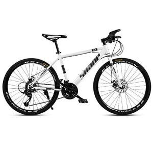 tools BMX Dirt Vélos de Route Vélo de Montagne Vélo de Route VTT Homme 24 Vitesse 24/26 Pouces Roues for Adultes Femmes (Color : White, Size : 24in)