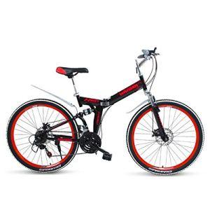 WJSW Vélo pour vélo de Montagne pour Enfant, Cadre en Acier léger à Roue de 26 po, Frein à Disque, 21 Vitesses, Rouge, 26″