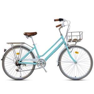 WOF 24 Pouces vélo vélo for Femmes Cadre rétro vélo Adulte avec Panier Rouge Femmes Cruiser vélo Adulte Plage Cruiser vélo