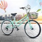 WOF Vélo for Femmes – 24 Pouces 6 Vitesses Double Freins à Disque City Light Commuter Retro Ladies Adult avec Panier de Voiture Cruiser Bike Adult Beach Cruiser Bike