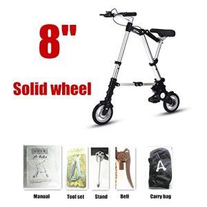 YiWu Ultra Light 8″/ 10″ Mini vélo Pliant vélo Portable extérieur Métro véhicules de Transport en Pliable Bicicleta (Couleur : 8Solid Wheel Silver)