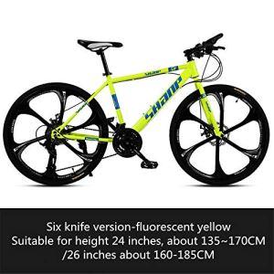 B/H Vélo pour adulte et femme, vélo ultra léger avec amortissement des chocs Double disque Offroad VTT 005_21 Speed_26″