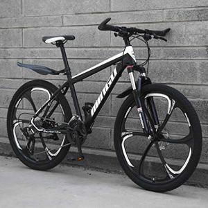 Langlin 26 Pouces Hommes VTT Vélo Double Disque Cadre système de Frein à Disque Bikes Haute en Acier au Carbone Tous Les vélos Terrain VTT 21/24/27/30 Vitesse,03,26″ 27 Speed