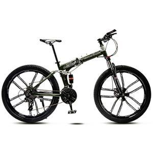 LWZ Vélo Pliant 24 Vitesses VTT 26 Pouces VTT Double Frein à Disque Absorption des Chocs Unisexe vélo de Montagne vélos d'exercice Portables