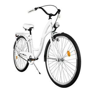 Milord. 2018 Vélo de Confort, Byciclette, Vélo Femme, Vélo de ville, 1 Vitesses, Blanc, 28 Pouces