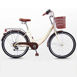 NIUYU Vélo de Ville, Léger 7 Vitesses Vélo de Route Femmes Vélo pour Adulte Unisexe Urbain Commuter Environnement de La Ville-jaune-24pouce