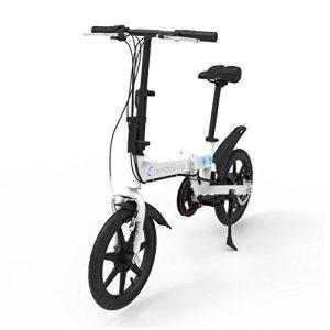 SMARTGYRO EBIKE White Vélo électrique Pliant, Roues de 16″ et Batterie extractible au Lithium de 4400 mAh 24V (Blanc) Mixte Adulte
