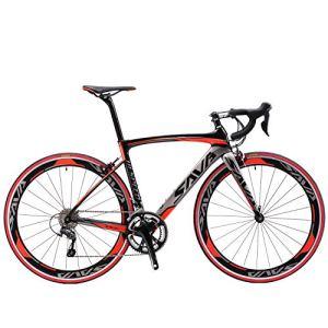 SAVA Vélo de Route de Fibre de Carbone 700C Shimano 3000 18-Vitesses Système Vélo Ultraléger (Noir Gris Rouge, 540mm)