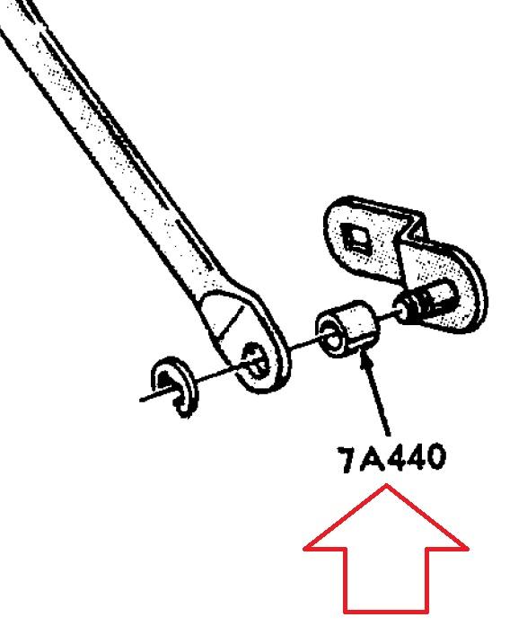 1965 Kick down rod to transmission bushing