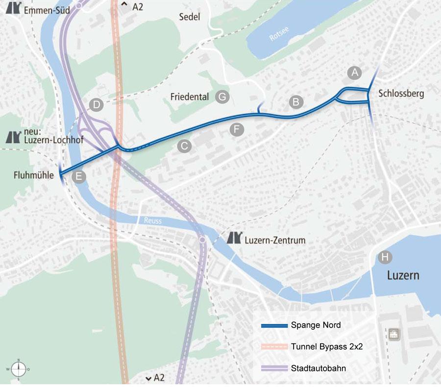 Das Projekt «Spange Nord» ist eine neue städtische Hauptverkehrsache in Luzern. (Plan: Kanton Luzern)