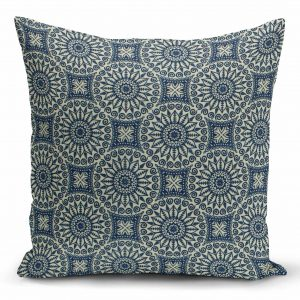 Decorative pillow with white circles on blue background
